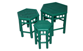 TT-160505/3- Bamboo stool, green color, set 3.