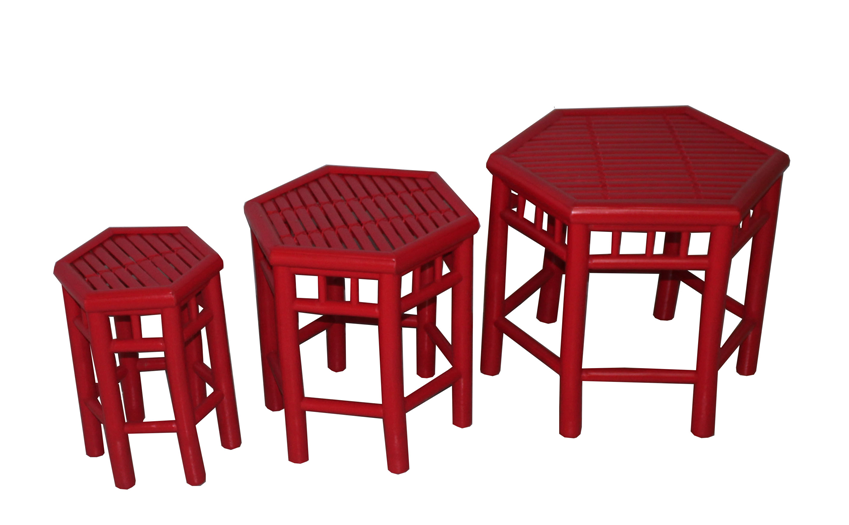 TT-160507/3- Bamboo stool, red color, set 3.