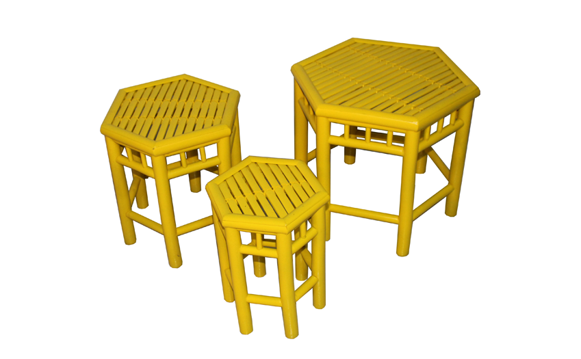 TT-160506/3- Bamboo stool, yellow color, set 3.