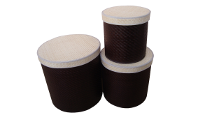 TT-160322/3 - Palm leaf box, brown color, set 3.
