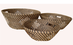 TT-160612/3- Round seagrass basket, set 3