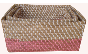 TT-160605/3- Square seagrass basket, set 2.