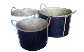 Round palm leaf basket, black color, set 3.