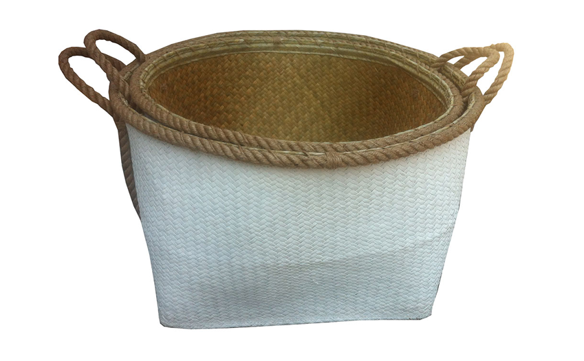 TT-160316/2 - Palm leaf basket, white paiting color, set 2
