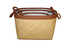 TT-160317- Palm leaf basket, natural color, set 3