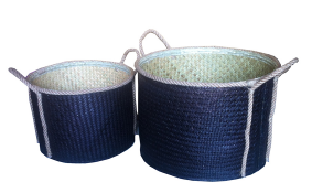 TT-160313/2- Palm leaf basket, set 2, black color