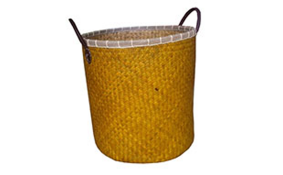 TT-160308 - Laudry palm leaf basket with leather handles