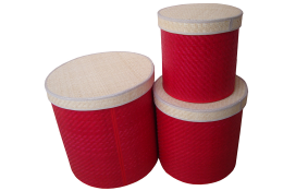 TT-160318- Palm leaf box with lids, red color- set 3.