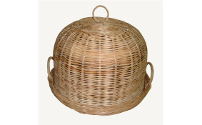 TT-160701 Rattan basket with round tray cover, natural color.