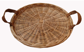 TT- 160707 - Round rattan tray with leather handles.