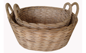 TT- 160705 - Round rattan basket with handles, set 2.