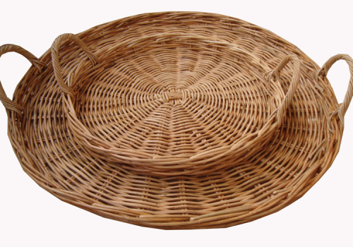 TT- 160706/2 - Round rattan tray with handles, set 2.