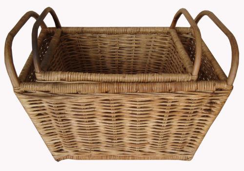 TT- 160715/2 - Rec. rattan basket with handles, set 2