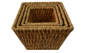 TT-142010/3 Twisted water hyacinth basket, natural color, set of 3