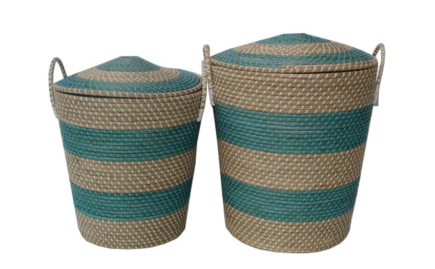 TT-14892/2 Seagras basket with lid, set of 2