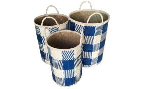 TT-160327/3 Palm leaf laundry basket, pattern color as it is, set of 3.