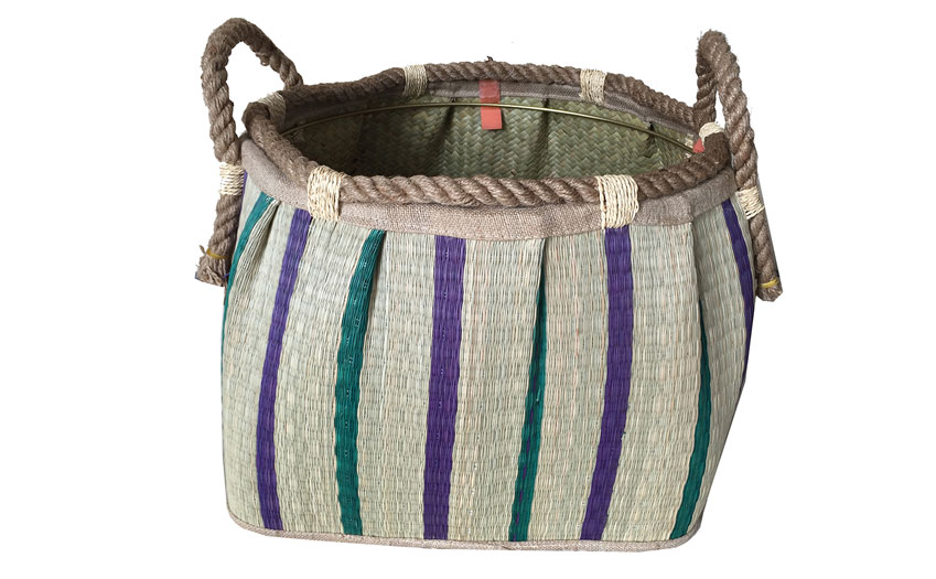 TT-160714 Seagrass laundry basket, pattern color as it is.