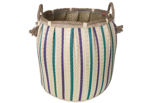 TT-160721 Seagrass laundry basket, pattern color as it is.