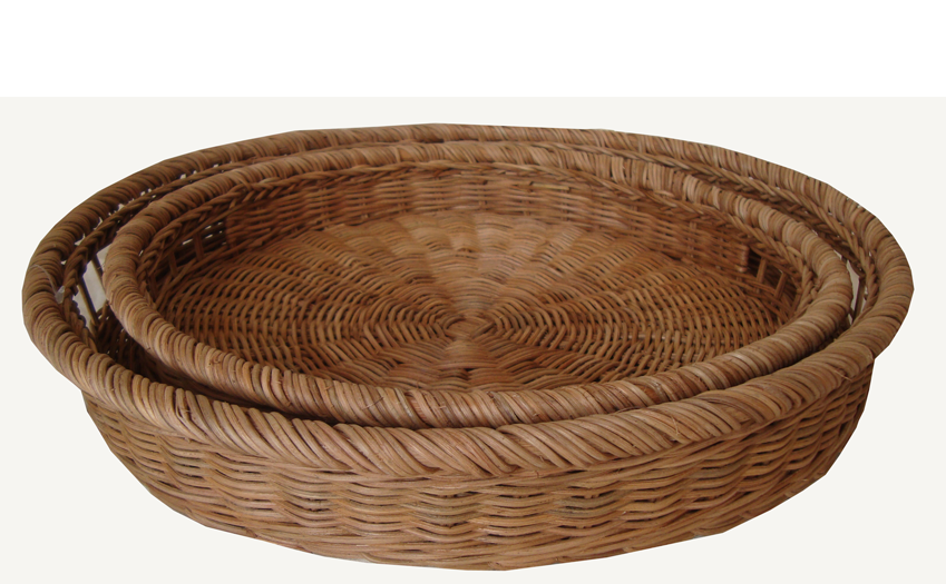 TT-160722 Round rattan tray, natural color, set 2