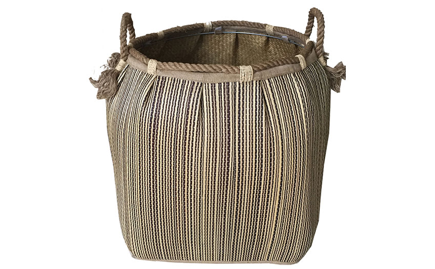 TT-160730 Seagrass laundry basket, pattern color as it is.