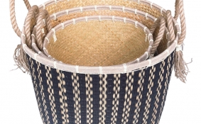 TT-190195/3 Seagrass basket, set of 3.