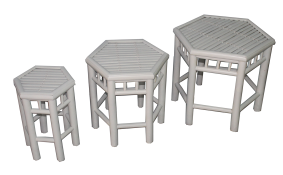 TT-201481 Bamboo stool, white painting color, set of 3