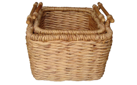 TT-R1308/2 Twisted water hyacinth basket, natural color, set of 2