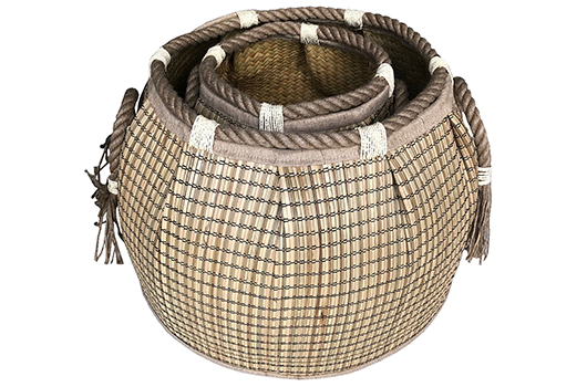 TT-190188/2 Round seagrass basket, natural color, set of 2.