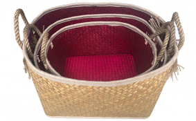 TT-190190/3 Palm leaf basket, set 3.