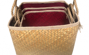 TT-190191/3 Palm leaf basket, set 3