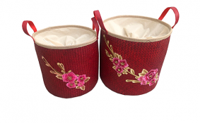 TT-190192/2 Palm leaf basket, red color, set 2.