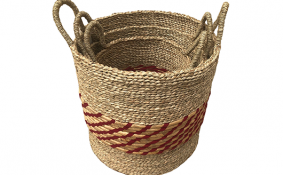 TT-190182/3  Seagrass basket, set 3.