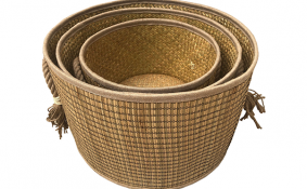 TT-190186/3 Seagrass basket, natural color, set 3.
